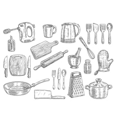 Kitchen utensils and appliances isolated sketches vector