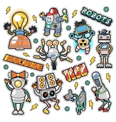 Robots and Machines Stickers Badges Patches vector image