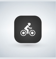 white bicycle icon on black app button vector image
