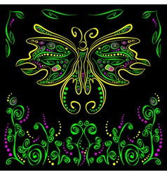 Bright butterfly with futuristic flower decor on vector image