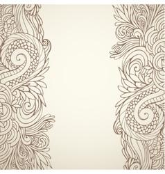brown outline floral on light 01 vector image vector image