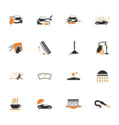 Car wash shower service icons set vector