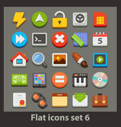 flat icon-set 6 vector image vector image