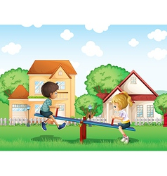 Kids playing at the park in the village vector image vector image