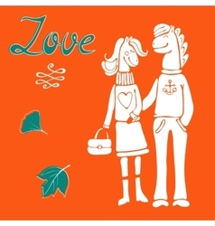 Love concept card with cute hand drawn horse vector image vector image