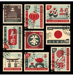 postage stamps on Japanese cuisine vector image