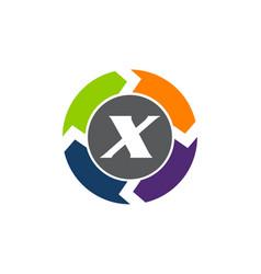 Process planner center letter x vector
