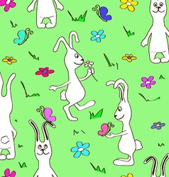 Seamless pattern of funny rabbits vector image