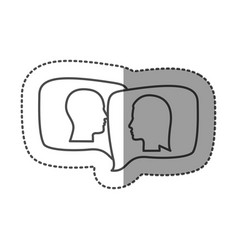 Sticker silhouette relief rectangular speech with vector