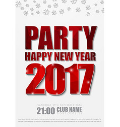 white poster design for New Years party in 2017 vector image