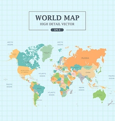 World Map Full Color High Detail vector image