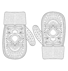 Christmas warm knitted mittens vector image
