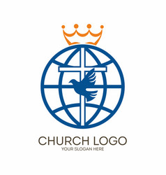 cross dove and globe vector image