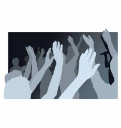 crowd with waving people vector image
