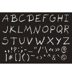 Hand written chalk uppercase english alphabet vector image