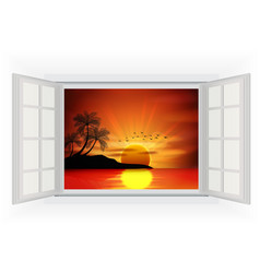 Open window on a beach background when sunset vector image vector image