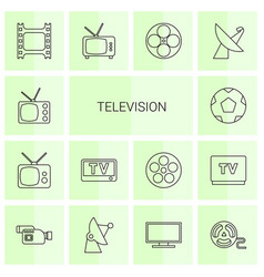 14 television icons vector image