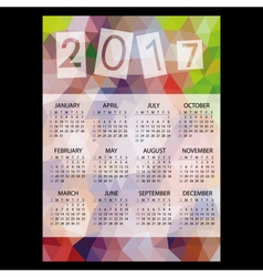 2017 simple business wall calendar with low vector image