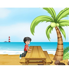 A boy at the beach with wooden table near vector