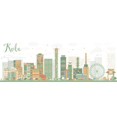 Abstract Kobe Skyline with Color Buildings vector image