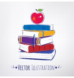 Apple on a pile of books vector