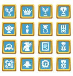 awards medals cups icons set sapphirine square vector image