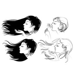Beautiful girl with long hair vector