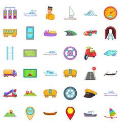 Big transport icons set cartoon style vector