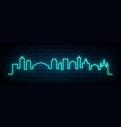 blue neon skyline new orleans city bright new vector image