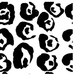 brush painted leopard seamless pattern black and vector image
