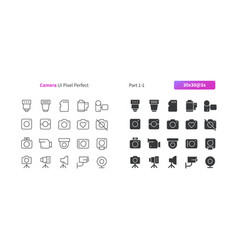 camera ui pixel perfect well-crafted thin vector image