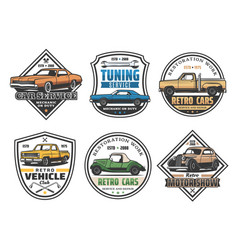 car repair service and vehicle tuning retro icons vector image