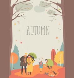 cartoon people walking in autumn park joyful vector image