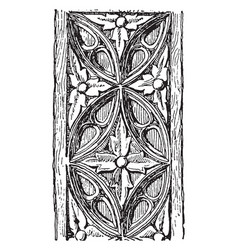 Carving is a wooden panel vintage engraving vector