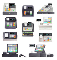 Cash register checkout counter with scanner vector