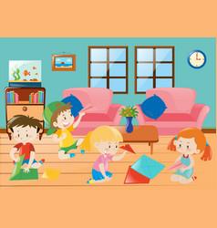 children folding plane paper in room vector image
