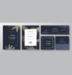 Christmas blue invitation cards posters vector