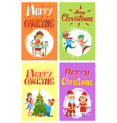 christmas holidays preparation of kids cards set vector image