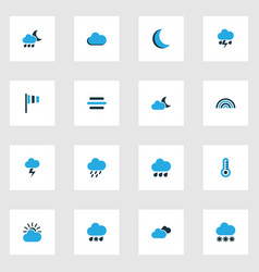 Climate colorful icons set collection of wind vector