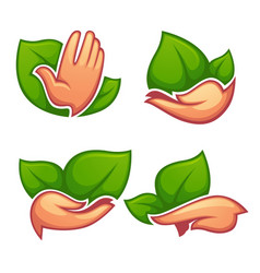 collection cartoon ecological symbols and vector image