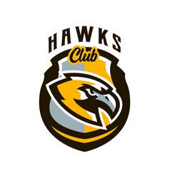 colorful logo sticker emblem a hawk flying vector image