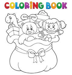 Coloring book christmas bag topic 1 vector