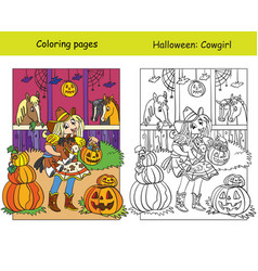 coloring with colored example halloween cowgirl vector image