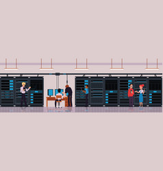 Data center or server room with technology workers vector