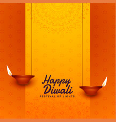Diwali festival celebration card diya design vector