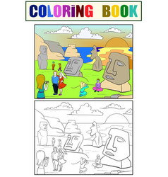 Easter island excursions coloring color black vector