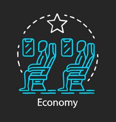 Economy class chalk icon passengers sitting vector