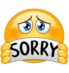 emoticon with sorry sign vector image