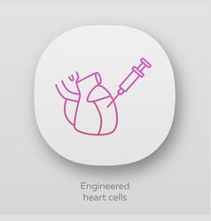 Engineered heart cells app icon human engineered vector