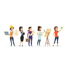 female diverse professions young women workers vector image